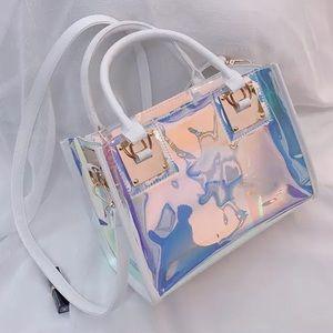Handbags - White Faux Leather Holographic Handbag